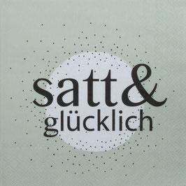 """Serviette """"satt & glücklich"""" 33x33cm"""