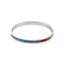 Armreif mit Klickverschluss Edelstahl & Kristalle Pavé multicolor