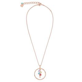 Halskette Edelstahl roségold Ring & Swarovski® Kristalle multicolor pastell 1