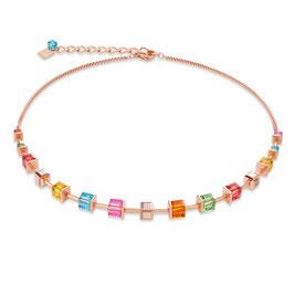 Halskette Swarovski® Kristalle & Edelstahl roségold multicolor