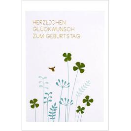 """Glücksklee Karte """"Herzlichen Glückwunsch zum Geburtstag"""""""