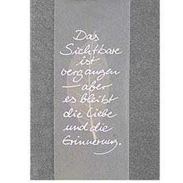 """Karte """"Das Sichtbare..."""" Trauerkarte"""