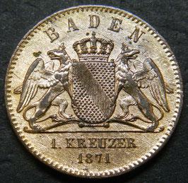 1 Kreuzer Baden Friedrich Friedensfeier 1871