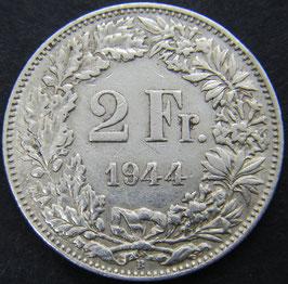 Schweiz 2 Fr. 1944 Stempelbruch