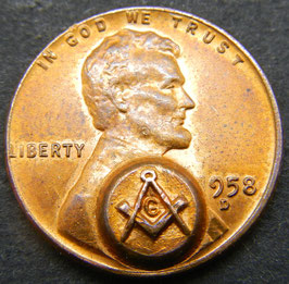 1958 US Cent with Masonic Counterstamp