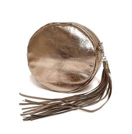 Runde Tasche aus Metallicleder