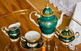 Немецкий кофейный сервиз Weimar ЮВЕЛ Зеленый  на 6 персон 15 предметов ( артикул МН 20648 В )