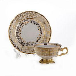 Набор для кофе мокко Carlsbad ЛИСТ БЕЛЫЙ на 6 персон 12 предметов