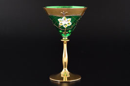 Набор бокалов для мартини ЛЕПКА СМАЛЬТА ЗЕЛЕНАЯ ЗОЛОТАЯ НОЖКА 150 мл