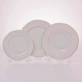 Набор тарелок для сервировки стола Bernadotte  ЗОЛОТОЙ ОБОДОК 18 штук