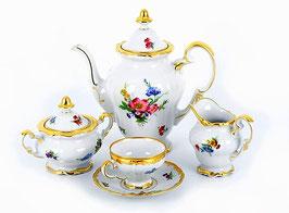 Немецкий кофейный сервиз Weimar МЕЙСЕНСКИЙ БУКЕТ на 6 персон 15 предметов ( артикул МН 12481 В )