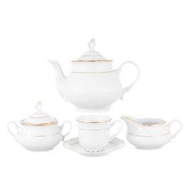 Чайный сервиз КОНСТАНЦИЯ ЗОЛОТОЙ ОБОДОК Thun на 6 персон 15 предметов