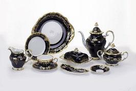Немецкий чайный сервиз Weimar ЮВЕЛ СИНИЙ на 12 персон 54 предметов ( артикул МН 33569 В )