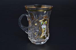ХРУСТАЛЬ С ЗОЛОТОМ набор кружек для чая армуда с ручкой 200 мл