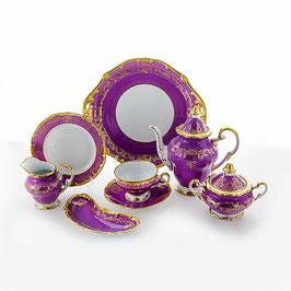 Немецкий чайный сервиз Weimar ЮВЕЛ Фиолетовый на 6 персон 23 предмета ( артикул МН 28389 В )