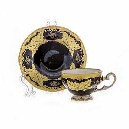 Набор для кофе мокко Weimar КЛЕНОВЫЙ ЛИСТ СИНИЙ на 6 персон 12 предметов ( артикул МН 3584 В )
