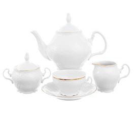 Чайный сервиз Bernadotte ЗОЛОТОЙ ОБОДОК на 6 персон 15 предметов