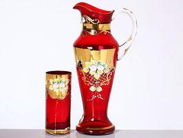 Набор для воды Bohemia Crystal ЛЕПКА СМАЛЬТА КРАСНАЯ 7 предметов