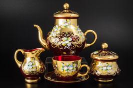 Чайный сервиз ЛЕПКА СМАЛЬТА КРАСНАЯ ГРАНАТ на 6 персон 15 предметов
