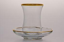 АРМУДА набор для чая Bohemia Crystal ЗОЛОТОЙ ОБОДОК на 6 персон 12 предметов
