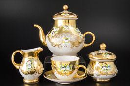 Чайный сервиз ЛЕПКА СМАЛЬТА БЕЛАЯ на 6 персон 15 предметов