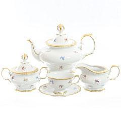 Чайный сервиз Queens Crown МЕЙСЕНСКИЙ ЦВЕТОК на 6 персон 17 предметов