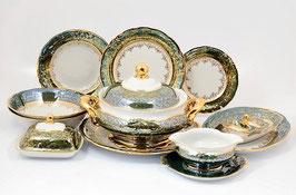 Столовый сервиз Sterne Porcelan ЛИСТ ЗЕЛЕНЫЙ на 6 персон 27 предметов