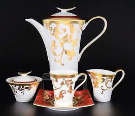 Чайный сервиз Falkenporzellan TOSCA BORDEAUX GOLD на 6 персон 15 предметов