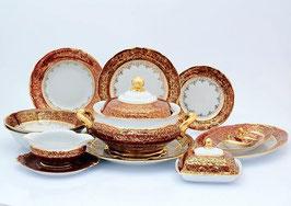 Столовый сервиз Sterne Porcelan ЛИСТ КРАСНЫЙ на 6 персон 27 предметов
