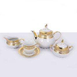 Чайный сервиз Thun КОНСТАНЦИЯ ЗОЛОТОЙ УЗОР на 6 персон 15 предметов