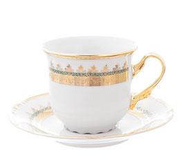 Набор для кофе Klasterec Thun КОНСТАНЦИЯ ИЗУМРУД ЗОЛОТО на 6 персон 12 предметов