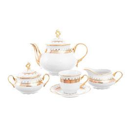 Чайный сервиз Klasterec Thun КОНСТАНЦИЯ ИЗУМРУД ЗОЛОТО на 6 персон 15 предметов