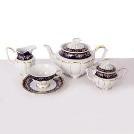 Чайный сервиз МАРИЯ ТЕРЕЗА СИНЯЯ Bavarian Porcelain  на 6 персон 15 предметов
