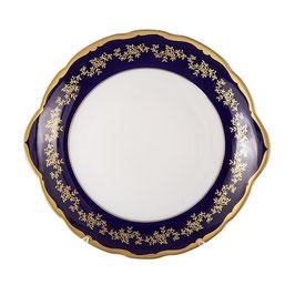 Блюдо круглое с ручками МАРИЯ ТЕРЕЗА СИНЯЯ Bavarian Porcelain 27 см