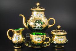 Чайный сервиз ЛЕПКА СМАЛЬТА ЗЕЛЕНАЯ на 6 персон 15 предметов
