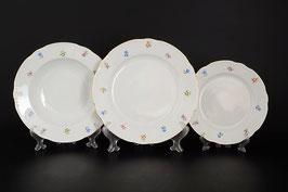 Набор тарелок для сервировки стола КОНСТАНЦИЯ СИНИЙ ЦВЕТОК  Thun 18 штук