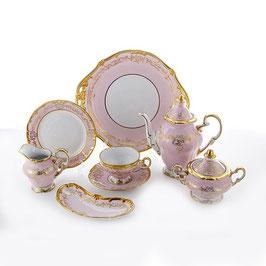 Немецкий чайный сервиз Weimar ЮВЕЛ Розовый на 6 персон 23 предмета ( артикул МН 28385 В )