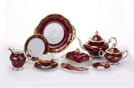 Немецкий чайный сервиз Weimar ЮВЕЛ Красный На 12 персон 54 предмета ( артикул МН 32129 В )