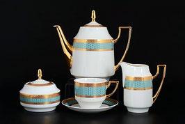 Чайный сервиз Thun МАРИЯ ЛУИЗА МАНТИЯ ГОЛУБАЯ на 6 персон 15 предметов
