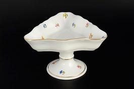 Салатник треугольный на ножке СИНИЙ ЦВЕТОК Queens Crown 19 см