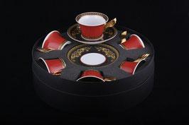 Немецкий фарфор.Набор для чая  Roshental МЕДУЗА КРАСНАЯ на 6 персон 12 предметов ( артикул МН 8233 В )