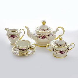 Чайный сервиз Moritz Zdekalier  РОЗА СЛОНОВАЯ КОСТЬ на 6 персон 15 предметов