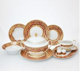 Столовый сервиз Falkenporzellan NATALIA BORDEAUX GOLD на 6 персон 25 предметов