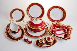 Немецкий столовый сервиз Weimar ЮВЕЛ Красный На 12 персон 49 предметов ( артикул МН 186 В )