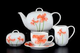 Чайный сервиз ЛЕОН КРАСНЫЕ МАКИ Thun на 6 персон 15 предметов