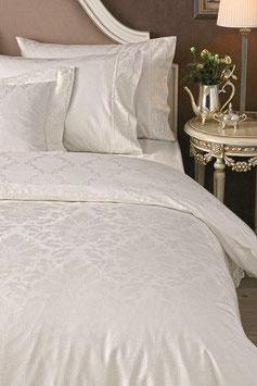 Постельное Белье VALERON SATIN JACQUARD 2 спальное ADRINA Молочный