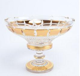 Хрустальная ваза для конфет Bohemia Cristal ЗОЛОТАЯ ПОЛОСА 25 см