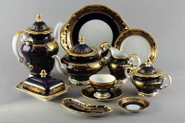 Немецкий чайный сервиз Weimar СИМФОНИЯ ЗОЛОТАЯ КОБАЛЬТ на 6 персон 31 предмет ( артикул МН 7325 В )