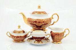 Чайный сервиз Sterne Porcelan ЛИСТ КРАСНЫЙ на 6 персон 15 предметов