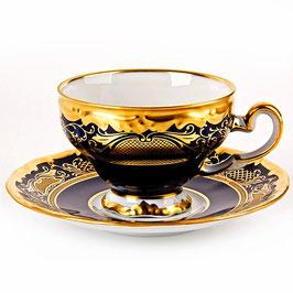 Набор для кофе мокко Weimar СИМФОНИЯ ЗОЛОТАЯ КОБАЛЬТ на 6 персон 12 предметов ( артикул МН 21540 В )